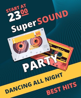 Retro party poster. music night dance time audio tape cassette  placard design.