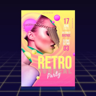 Retro party poster template concept