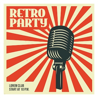 Retro party poster template with old microphone