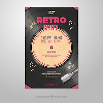 Retro party poster template with vinyl