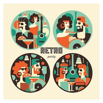 Ретро плакат партии. векторная иллюстрация в стиле ретро.