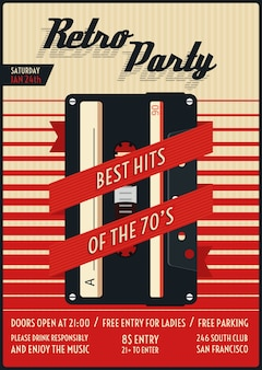 Retro party poster. vintage and nostalgia, stylish nightlife. vector illustration