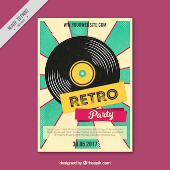Retro party poster with vinyl