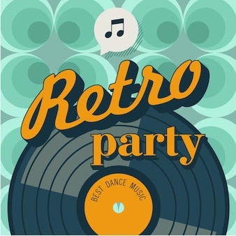 レトロなパーティー。レトロなスタイルのベクトルポスター。ビニールレコード。ベクトルエンブレム。