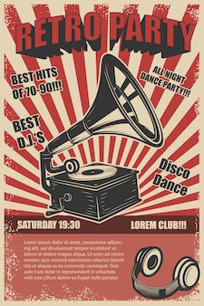 Retro party. vintage gramophone on grunge background.  elements for poster.  illustration