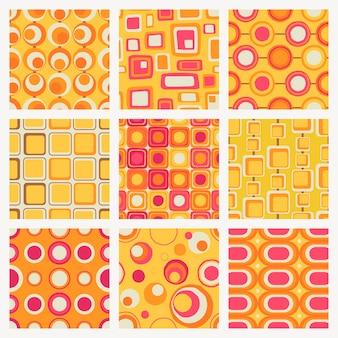レトロなパターンの背景、シームレスな幾何学的形状ベクトルセット