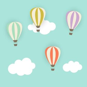 気球とレトロなパターンベクトルイラストeps10
