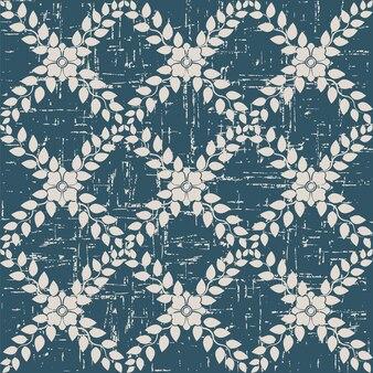 잎 꽃 덩굴 크로스와 복고풍 패턴
