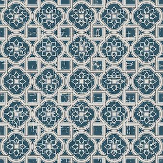 크루 브 스퀘어 크로스 스타 꽃과 복고풍 패턴