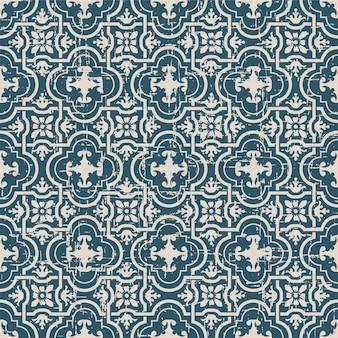 곡선 크로스 형상 프레임 꽃과 복고풍 패턴