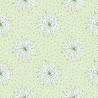 Retro pattern with flowers on background with dots in pastel green colours. vector illustration.