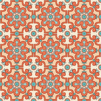 Retro pattern with orange flowers