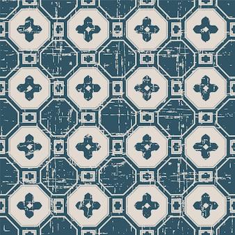 다각형 크로스 꽃과 복고풍 패턴
