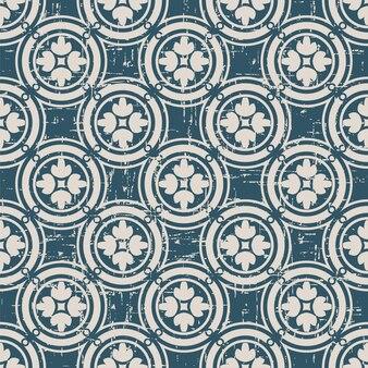 둥근 원형 프레임 복고풍 패턴 크로스 꽃