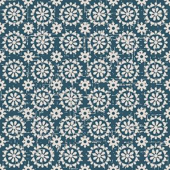 라운드 크로스 꽃과 복고풍 패턴