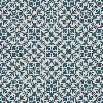 둥근 기하학 꽃 만화경으로 복고풍 패턴