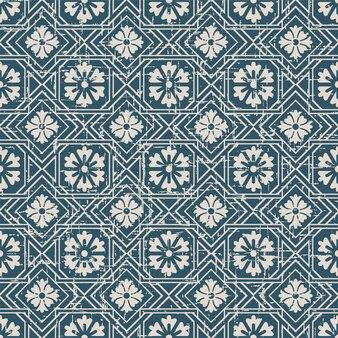 사각형 체크 크로스 프레임 꽃과 복고풍 패턴