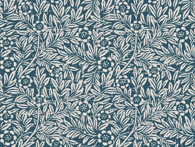 Retro pattern with vintage flower leaf plant
