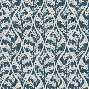 Retro pattern with vintage nature leaf cross