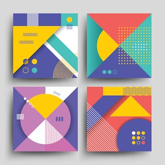 Retro patterns with abstract simple geometric shapes