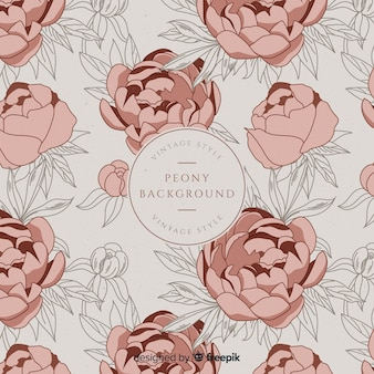 Retro peony flower background