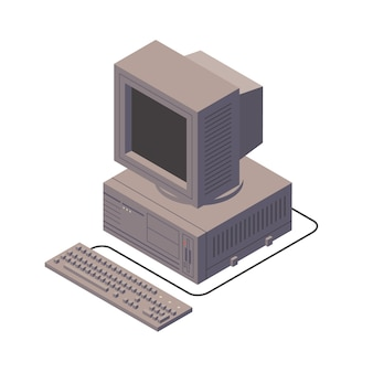 Retro personal computer. old pc with display, keyboard. isometric   illustration.