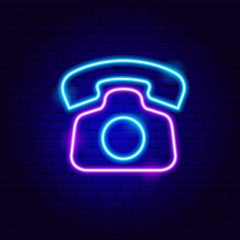 Retro phone neon sign. vector illustration of business promotion.