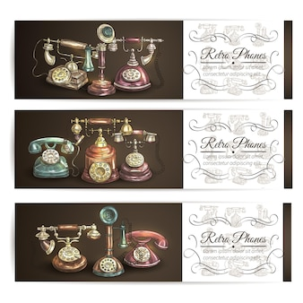 Retro phone sketch banners with vintage rotary dial and candlestick telephones