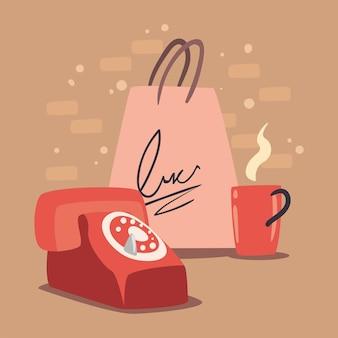 コーヒーとバッグの買い物とレトロな電話