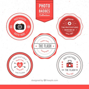 Retro photo badges set
