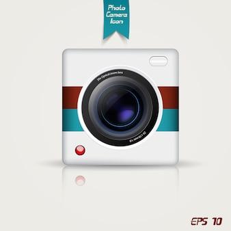 Retro photo camera icon.