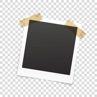 Retro photo frame isolated on transparent background