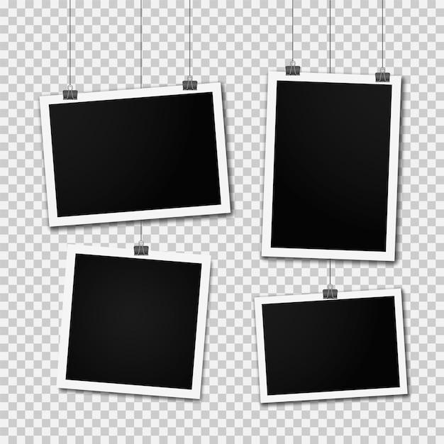 壁に掛かっているレトロなフォトフレームテンプレート。リアルな空白の写真カードのセット。垂直方向と水平方向のテンプレート写真のデザイン。行にぶら下がっている空白のフォトフレーム