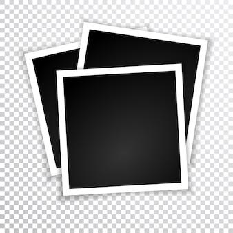 Retro photo frame with shadows.  illustration.