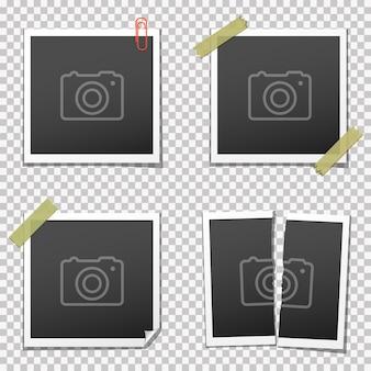 Retro photo frames on transparent