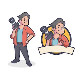 Логотип талисмана ретро фотографа