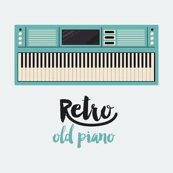 レトロなピアノのポスターのアイコンのデザインを隔離