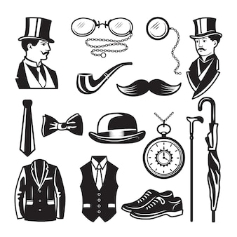 Retro pictures in victorian style. illustrations for gentleman club labels. gentleman in victorian english style and fashion, clothing dandy
