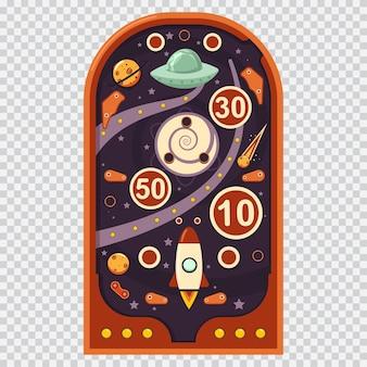 宇宙ゲーム付きのレトロなピンボールマシン。分離された漫画イラスト