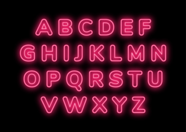 Retro pink neon punk alphabets set