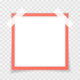透明な背景に影のあるレトロなピンクのフォトフレーム