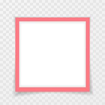 Ретро розовая фоторамка с тенями на прозрачном фоне