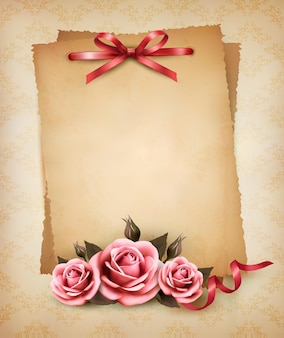 Retro pink rose and old paper.