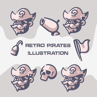 Retro pirates clip art