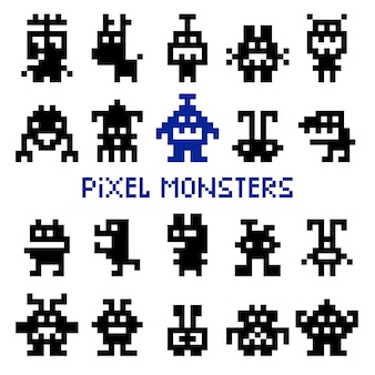 Retro pixel space monsters and video game alien invaders vector illustration