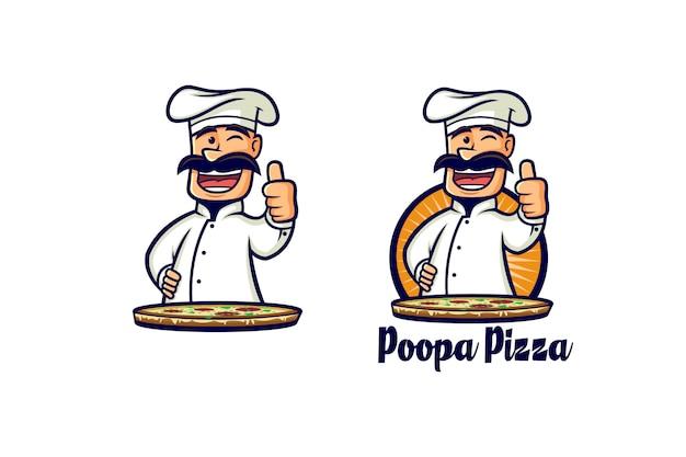 Retro pizza chef logo