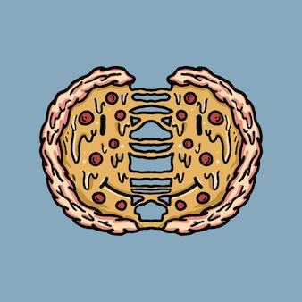 티셔츠 복고풍 피자 그림