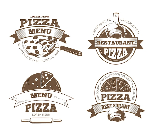 Retro pizzeria vector labels, logos, badges, emblems with pizza icons. pizzeria logo restaurant and
