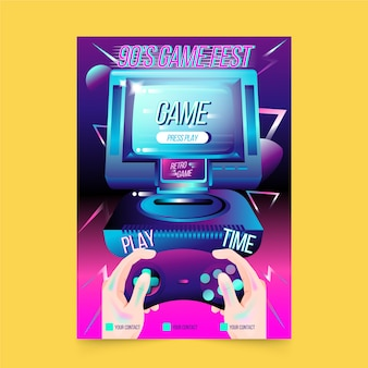 Retro playtime game poster template