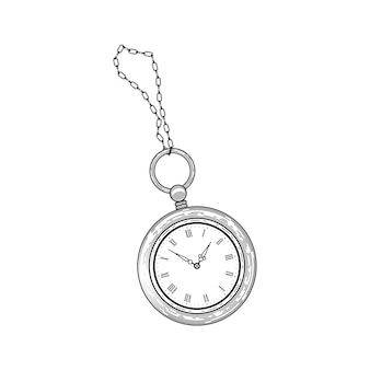 Retro pocket watch.   in engraved vintage style, isolated on white background